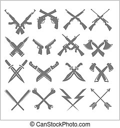 Crossed Weapons Vector Collection in white background