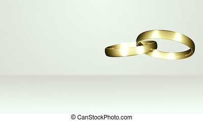 Crossed Wedding Ring On White Stage - background animation...