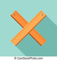 Crossed wood ruler icon, flat style