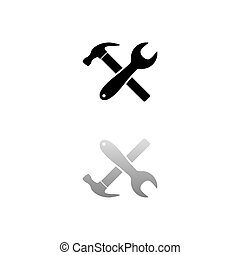 Crossed Wrench and Hammer. Black symbol on white background. Simple illustration. Flat Vector Icon. Mirror Reflection Shadow. Can be used in logo, web, mobile and UI UX project