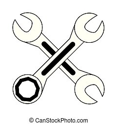 crossed wrenches icon cartoon isolated in black and white