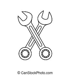 Crossed wrenches icon in outline style isolated on white background vector illustration
