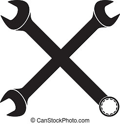 crossed wrenches (vector hand wrench tool or spanner, crossed wrenches silhouette)