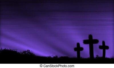 Crosses 3 Purple HD Loop - Three crosses silhouetted by a...