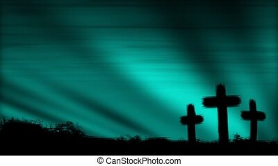 Three crosses silhouetted by a colorful cloud pattern behind. Seamless Loop. 30 seconds.