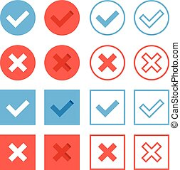 Crosses and check marks icons set