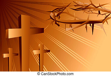 crosses and crown of thorns - Illustration of crosses and...