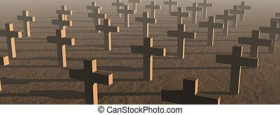 Crosses by sunset - Many crosses in a cemetery by sunset...