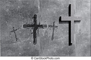 Crosses carved in the wall