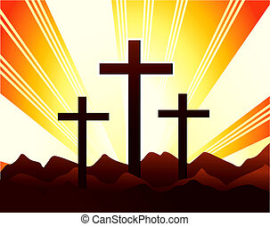 crosses - Illustration of crosses in the hill with radiant...