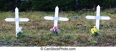Crosses in a graveyard