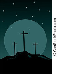 crosses in the hill at night - Illustration of crosses in...
