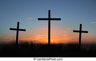 Crosses Of Calvary - Three crosses with a light clouded...