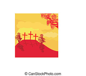 crosses on a hill at sunset vector background concept landscape