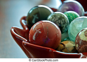 Crosses Reflected in Bowl of Glass Marbles - This stock...