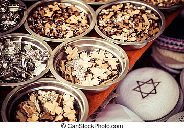 Traditional souvenirs. Via Dolorosa street market, Jerusalem Old City, Israel.