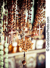 Crosses sold in Via Dolorosa street market, Jerusalem Old City, Israel.