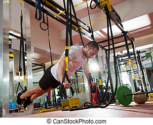 crossfit, 健身, trx, 推, 向上, 人, 測驗