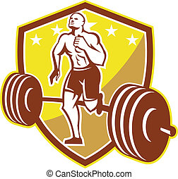 Illustration of an American crossfit marathon runner running facing front with barbell weights set inside shield crest with stars done in retro style on isolated white background