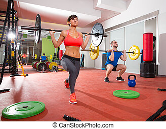 Crossfit fitness gym weight lifting bar group - Crossfit...