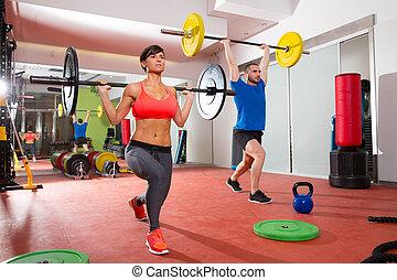 crossfit, fitness, turnhalle, gewicht aufzuheben, bar, gruppe