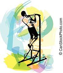 crossfit, gymnastiksal, remme, affattelseen, trx, duelighed, gåpåmodet, ups, mand