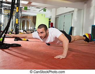 crossfit, jambe, homme, fitness, équilibre, augmente, bras, pus