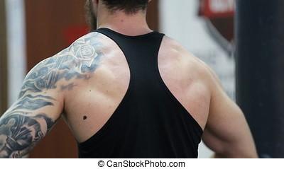 crossfit, jeune, musculaire, exercisme, gym., training., homme