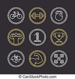 crossfit, logos, vettore, emblemi
