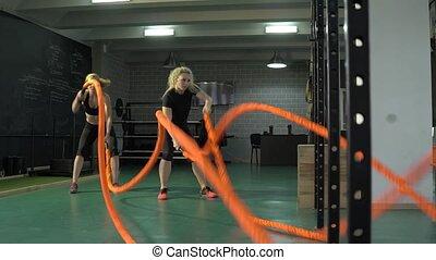 crossfit., pracujący, walka, ring bokserski, dziewczyny, lekkoatletyka, gym., 4k