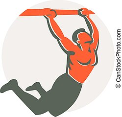Illustration of a crossfit athlete body weight exercise pull up hanging on bar muscle up facing side inside circle done in retro style on isolated white background