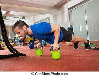 crossfit, pushup, kettlebells, フィットネス, 押し, ∥上げる∥, 練習, 人