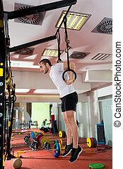 crossfit, séance entraînement, plongement, fitness, anneau, trempette, exercice, homme
