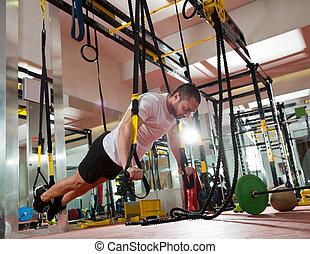 crossfit, séance entraînement, trx, fitness, poussée, augmente, homme