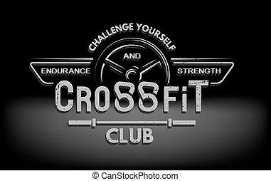 CrossFit. The tmblem in vintage style.