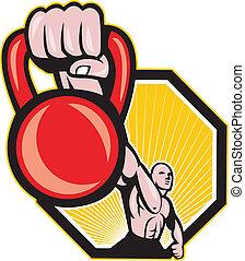 Crossfit Training Lifting Kettlebell Front - Illustration of...