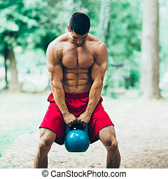 Crossfit training with kettle bell
