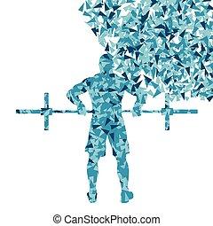 crossfit, voják, weightlifting, vektor, grafické pozadí,...