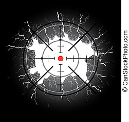 Crosshair after shooting, hole throught broken glass