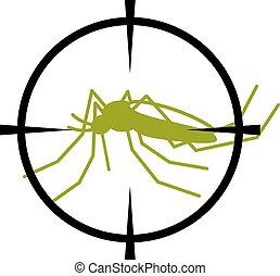 crosshair focused mosquito symbol - illustration for the web