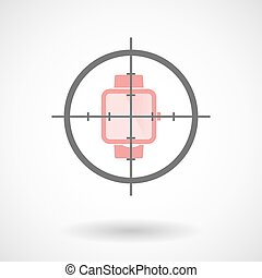 Crosshair icon targeting a smart watch - Illustration of a...