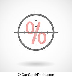 Crosshair icon with a discount sign