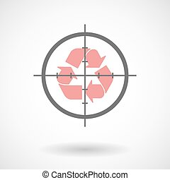 Crosshair icon with a recycle sign