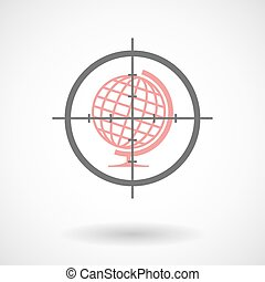 Crosshair icon with a world globe