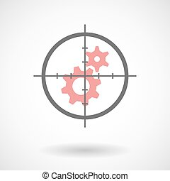Crosshair icon with gears