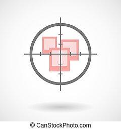 Crosshair icon with photos