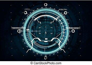Crosshair in futuristic style. Gui aim. Futuristic User...
