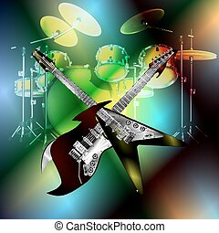 crosshair rock guitar on the background of drums