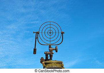 "Bead sight of anti-aircraft machine gun ""Maxim"" in World War II."