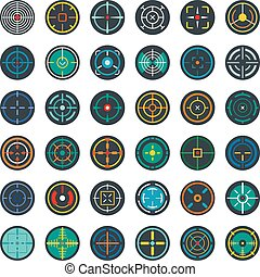 Crosshair target scope sight icons set, flat style